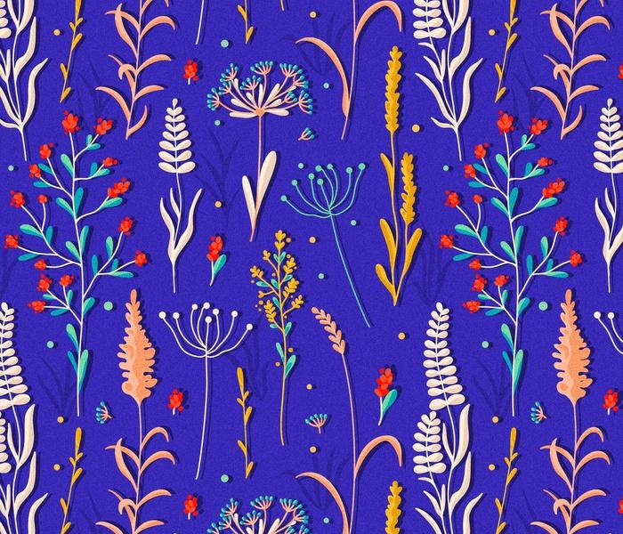 Wild Grass on Blue / Medium Scale