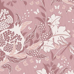 Pomegranate dream, Leaves, flowers and fruits of Pomegranate in a delicate beige color