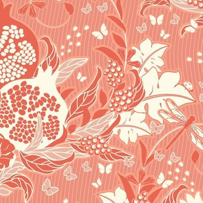 Pomegranate dream, Leaves, flowers and fruits of Pomegranate in a delicate orange color