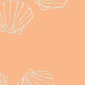 The messy sea side ocean shells beach theme boho style island vibes  coral peach white