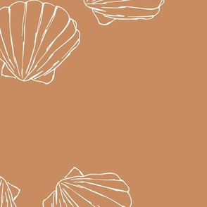 The messy sea side ocean shells beach theme boho style island vibes caramel sienna white