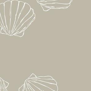 The messy sea side ocean shells beach theme boho style island vibes mist beige sand white