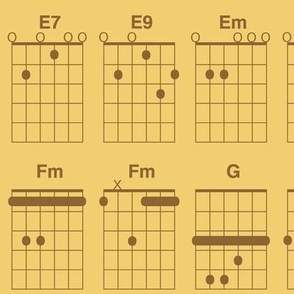 guitar chords - wheat brown on gold