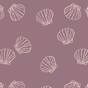 The messy sea side ocean shells beach theme boho style island vibes plum purple blush