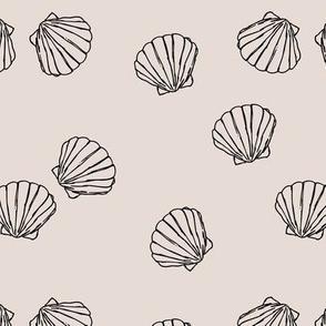 The messy sea side ocean shells beach theme boho style island vibes ivory beige black