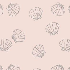 The messy sea side ocean shells beach theme boho style island vibes blush pale gray baby girl