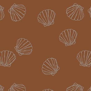 The messy sea side ocean shells beach theme boho style island vibes rust copper gray