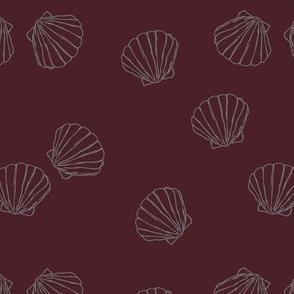 The messy sea side ocean shells beach theme boho style island vibes wine maroon gray