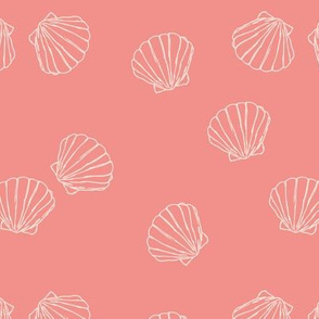 The messy sea side ocean shells beach theme boho style island vibes coral blush pink
