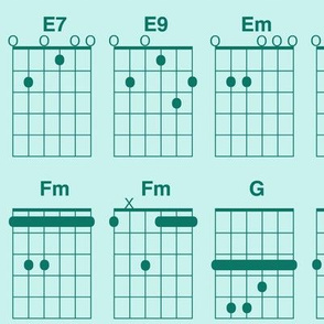 guitar chords - spruce green on light blue