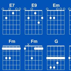 guitar chords - white on true blue