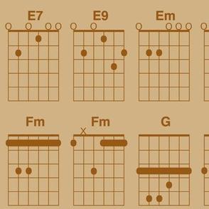 guitar chords - brown on tan