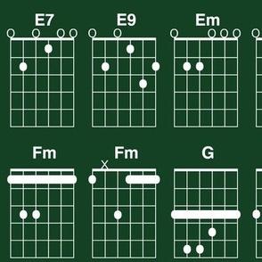 guitar chords - white on chalkboard green