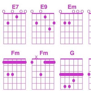 guitar chords - fuchsia on white