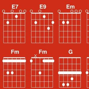 guitar chords - white on red
