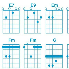 guitar chords - turquoise on white