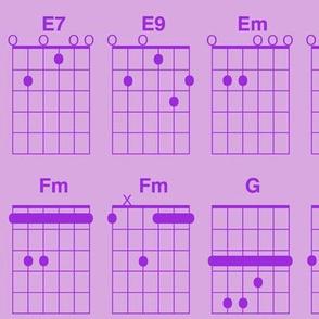 guitar chords - purple on lavender