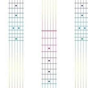 guitar fretboard stripe - rainbow on white