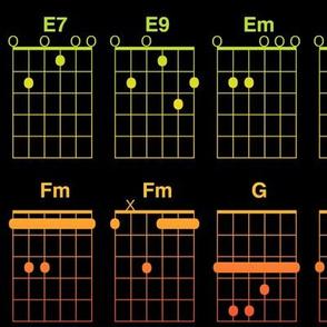guitar chords - bright rainbow on black