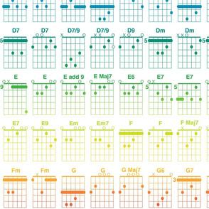 guitar chords - bright rainbow on white