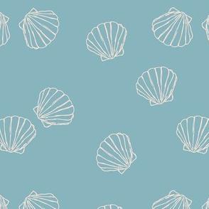 The messy sea side ocean shells beach theme boho style island vibes blue ivory beige