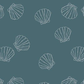The messy sea side ocean shells beach theme boho style island vibes stone blue gray