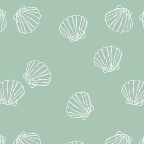 The messy sea side ocean shells beach theme boho style island vibes mint green