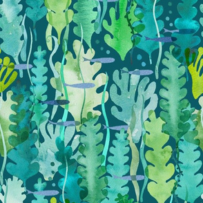 seaweed and fishes on green