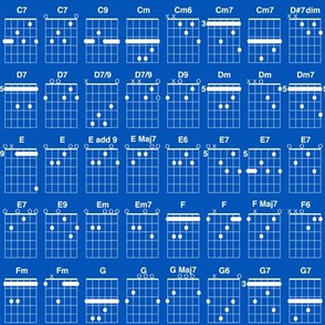 guitar chords, small - white on true blue