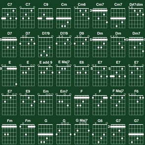 guitar chords, small - white on chalkboard green