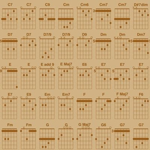 guitar chords, small - brown on tan