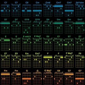 guitar chords, small - bright rainbow on black
