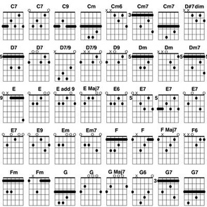 guitar chords, small - black and white