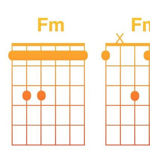 guitar chords, extra large - bright rainbow on white