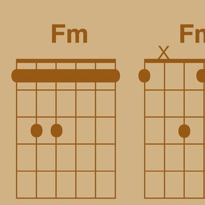 guitar chords, extra large - brown on tan