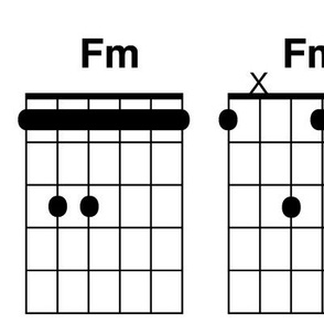 guitar chords, extra large - black and white