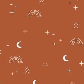 Magic boho sunshine moon and stars universe theme sparkle neutral stone red burnt orange