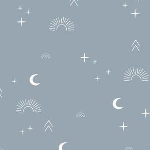 Magic boho sunshine moon and stars universe theme sparkle neutral blue stone