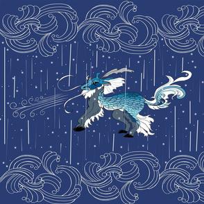 cryptid Kuraokami Japanese rain snow ice dragon indigo royal turquoise pale medium blues and grey