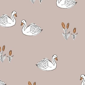Sweet boho minimalist swan pond spring summer birds scandinavian style nursery beige orange white