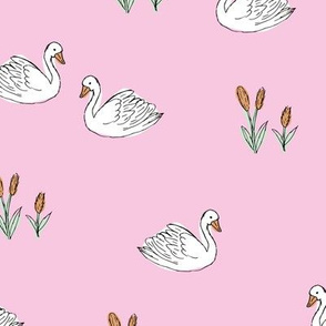 Sweet boho minimalist swan pond spring summer birds scandinavian style nursery girls pink mint