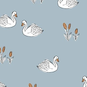 Sweet boho minimalist swan pond spring summer birds scandinavian style nursery blue orange white