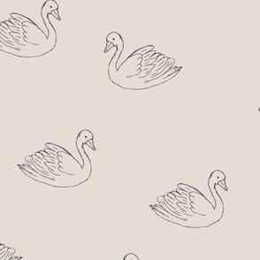 Sweet boho minimalist swan spring summer birds scandinavian style nursery beige sand gray