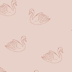 Sweet boho minimalist swan spring summer birds scandinavian style nursery soft blush burnt orange