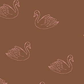 Sweet boho minimalist swan spring summer birds scandinavian style nursery chocolate brown pink