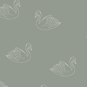 Sweet boho minimalist swan spring summer birds scandinavian style nursery eucalyptus sage green ivory