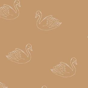 Sweet boho minimalist swan spring summer birds scandinavian style cinnamon ochre yellow