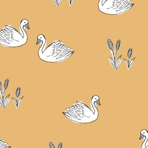 Sweet boho minimalist swan pond spring summer birds scandinavian style nursery soft yellow honey