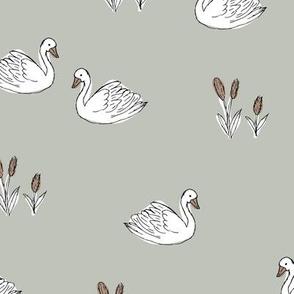 Sweet boho minimalist swan pond spring summer birds scandinavian style nursery soft mint sage mist green