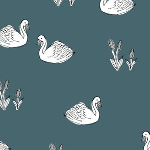 Sweet boho minimalist swan pond spring summer birds scandinavian style nursery soft petrol blue neutral